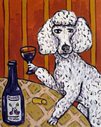 Jay Schmetz Framed Prints - Poodle at the Wine Bar Framed Print by Jay  Schmetz