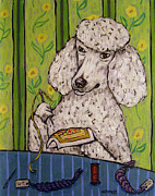 Jay Schmetz Metal Prints - Poodle doing Needlepoint Metal Print by Jay  Schmetz
