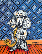 Jay Schmetz Metal Prints - Poodle playing Saxophone Metal Print by Jay  Schmetz