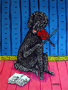 Jay Schmetz Metal Prints - Poodle Playing Violin Metal Print by Jay  Schmetz