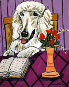 Library Paintings - Poodle Reading at the Library by Jay  Schmetz