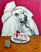 Jay Schmetz Framed Prints - Poodle with Cheesecake Framed Print by Jay  Schmetz