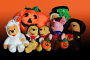 Gold Cloth Posters - Pooh and Friends Halloween Poster by Linda Phelps