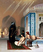 Paint Photograph Posters - Pool in a Harem Poster by Munir Alawi
