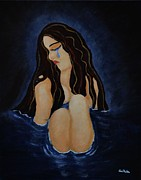 Sitting In The Water; Painting Posters - Pool of Sorrow Poster by Iris Forbes