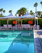 Patio Framed Prints - POOL PAVILLIONS Palm Springs Framed Print by William Dey