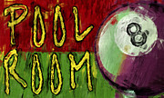 Ball Room Digital Art Posters - Pool Room Sign Abstract Poster by David G Paul