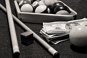 Pocket Billiards Prints - Pool - The Hustler -  black and white Print by Paul Ward