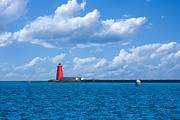 North Sea Prints - Poolbeg Lighthouse in Dublin Bay Print by Semmick Photo