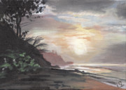 Puerto Rico Painting Posters - Pools Beach Sunset Poster by Sarah Lynch