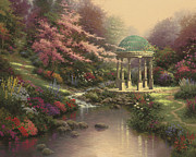 Gazebo Painting Prints - Pools of Serenity Print by Thomas Kinkade