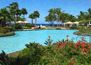 Travel Destinations Paintings - Poolside at Maui by Danny Smythe