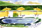 Knob Painting Prints - Poolside Print by Kip DeVore