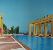 Posh Painting Prints - Poolside Nice France Print by Carolyn Judge