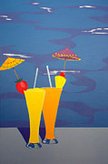 Karyn Robinson Metal Prints - Poolside Umbrella Drinks Metal Print by Karyn Robinson