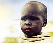 Poor People Prints - Poor young child portrait. Tanzania Print by Michal Bednarek