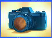 Vintage Camera Posters - Pop Art 110 Pentax Poster by Mike McGlothlen