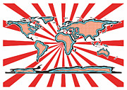 World Map Print Digital Art Prints - Pop Art Comic Book World Map Print by Stephen Gowland