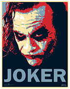 Dark Knight Digital Art Framed Prints - Pop Art Joker Framed Print by Dale Loos Jr
