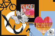 Blue And Orange Prints - Pop Art Peace and Love NY Urban Collage Print by Anahi Decanio