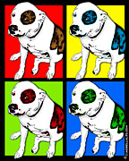 For Dog Lover Digital Art Posters - Pop Art Pit Bull Poster by Lori Malibuitalian