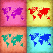 World Map Digital Art Metal Prints - Pop Art World Map 1 Metal Print by Irina  March