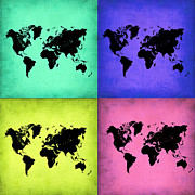World Map Digital Art Metal Prints - Pop Art World Map 2 Metal Print by Irina  March