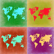 World Map Digital Art Metal Prints - Pop Art World Map 3 Metal Print by Irina  March