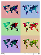 World Map Digital Art Metal Prints - Pop Art World Map Metal Print by Irina  March