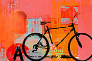 Happy Mixed Media Framed Prints - Pop Fun Bicycle Art Print Framed Print by Anahi DeCanio