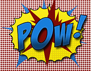 Red Blue Posters - Pop POW Poster by Suzanne Barber