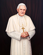 Benedict Painting Framed Prints - Pope Benedict XVI Framed Print by Lisa  Ober