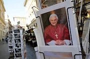 Pope Prints - Pope Benedict XVI. postcard in a rack. Rome. Lazio. Italy. Europe Print by Bernard Jaubert