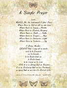 Pope Francis St. Francis Simple Prayer Butterflies Print by Claudette Armstrong