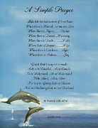 Pope Francis St. Francis Simple Prayer Dance Of The Dolphins Print by Claudette Armstrong