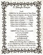 Pope Francis St. Francis Simple Prayer Fleur Print by Claudette Armstrong