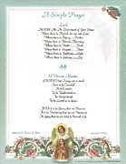 Pope Francis St. Francis Simple Prayer Florentine Angel Print by Claudette Armstrong