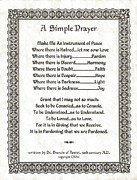 Pope Francis St. Francis Simple Prayer Pray For Peace On Parchment Print by Claudette Armstrong