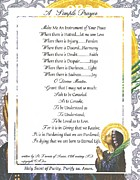 Pope Francis St. Francis Simple Prayer Purity Print by Claudette Armstrong