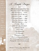 Pope Francis St. Francis Simple Prayer St. Teresa Print by Claudette Armstrong