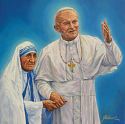 Calcutta Paintings - Pope John Paul II and Mother Teresa by Ivonne Galanes