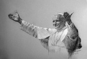 Pastel Drawing Pastels Framed Prints - POPE JOHN PAUL II bw Framed Print by Ylli Haruni