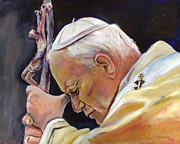Christian Artwork Paintings - Pope John Paul II by Sheila Diemert