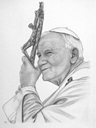 Pastel Drawing Drawings - Pope John Paul II by Silvia Louro
