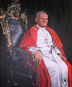 Red Robe Posters - Pope John Paul II Poster by Terry Sita