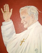 Acrylic On Canvas Board Paintings - Pope JohnPaul II by Desline Vitto