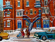 Baby Carriage Paintings - Poplinger Building Montreal Winter Scene by Carole Spandau