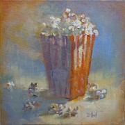 Donna Shortt Painting Posters - Popped Corn Poster by Donna Shortt