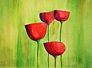 Poppies Artwork Paintings - Poppies 4 by Julie Lueders