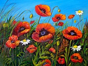 Maureen Painting Posters - Poppies and daisies Poster by Maureen Dowd